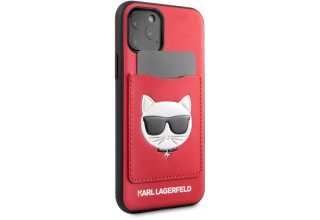 Чехол Lagerfeld для iPhone 11 Pro PU Leather with cardslot Choupette's Head Hard Red