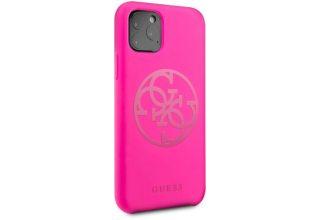 Чехол Guess для iPhone 11 Pro Max Silicone collection 4G logo Hard Fuschia
