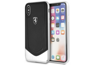 Чехол Ferrari для iPhone X/XS Heritage V Hard Leather/aluminium stripe Black