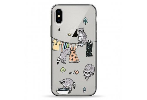 Чехол Pump Transparency Case for iPhone XS Max Raccoon Family