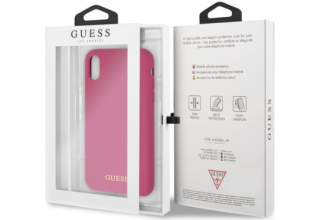 Чехол Guess для iPhone XR Silicone collection Gold logo Hard Pink