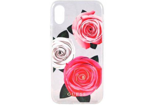 Чехол Guess для iPhone XR Flower Desire Hard Transparent/Tricolor roses
