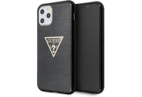 Чехол Guess для iPhone 11 Pro Max Triangle logo Hard TPU Glitter black