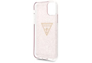 Чехол Guess для iPhone 11 Triangle logo Hard TPU Glitter pink
