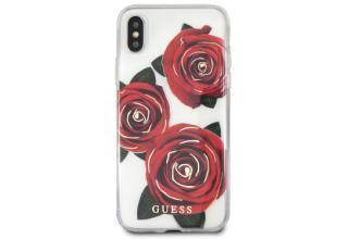 Чехол Guess для iPhone X/XS Flower desire Transparent Hard PC/Roses Red