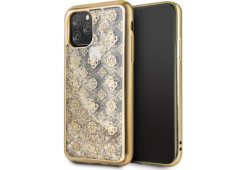 Чехол Guess для iPhone 11 Pro Liquid glitter 4G Peony Hard Gold