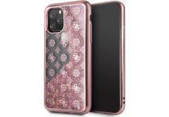 Чехол Guess для iPhone 11 Pro Liquid glitter 4G Peony Hard Pink