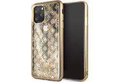Чехол Guess для iPhone 11 Pro Max Liquid glitter 4G Peony Hard Gold