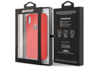 Чехол Ferrari для iPhone X/XS Silicone rubber Silver logo Hard Red