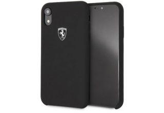 Чехол Ferrari для iPhone XR Silicone rubber Silver logo Hard Black