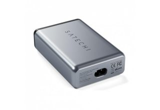 Сетевое зарядное устройство Satechi Dual 75W Type-C Travel Charger with USB-C PD Fast. Цвет серебрян