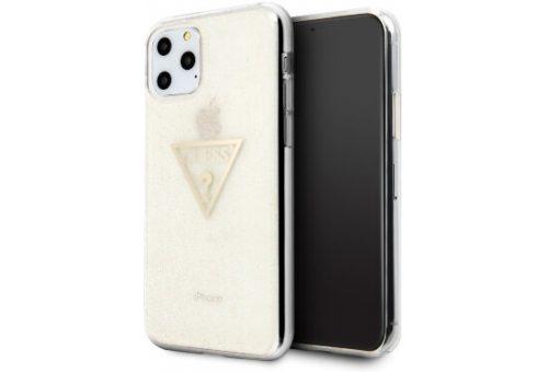 Чехол Guess для iPhone 11 Pro Triangle logo Hard TPU Glitter gold