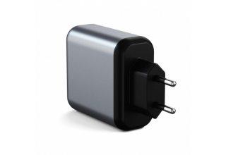 Сетевое зарядное устройство Satechi 30W Dual-Port Travel Charger. Цвет серый космос.
