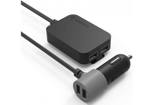 Автомобильное зарядное устройство Griffin PowerJolt с проводом Lightning, 4 порта USB. Цвет: черный.