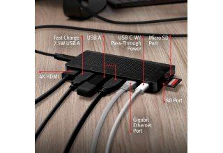 USB хаб Twelve South StayGo. Интерфейс USB-C. Порты 1xUSB-C PD 85W, 1xHDMI 4K, 1xUSB-A 3.0 / BC 1.2,