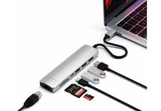 USB-C адаптер Satechi Type-C Slim Multiport with Ethernet Adapter. Цвет серебряный.