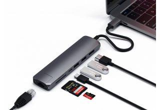 USB-C адаптер Satechi Type-C Slim Multiport with Ethernet Adapter. Цвет серый космос.
