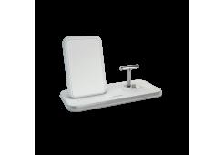 Беспроводное зарядное устройство ZENS Stand+Dock Aluminium Wireless Charge. Цвет белый.